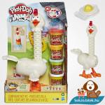 Play-Doh Animal Crew: Cluck a dee - színes csirke gyurma szett doboza és a csirke kibontva