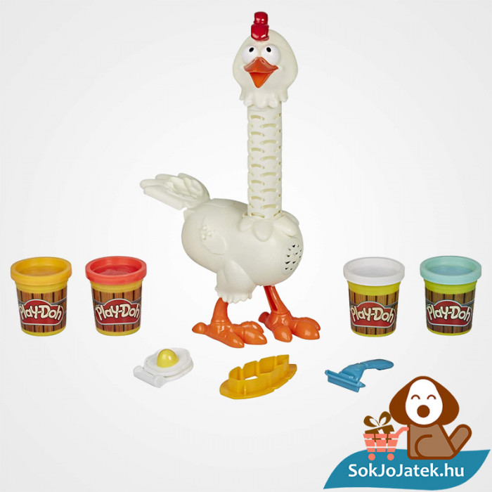 Play-Doh Animal Crew: Cluck a dee - színes csirke gyurma szett kibontva