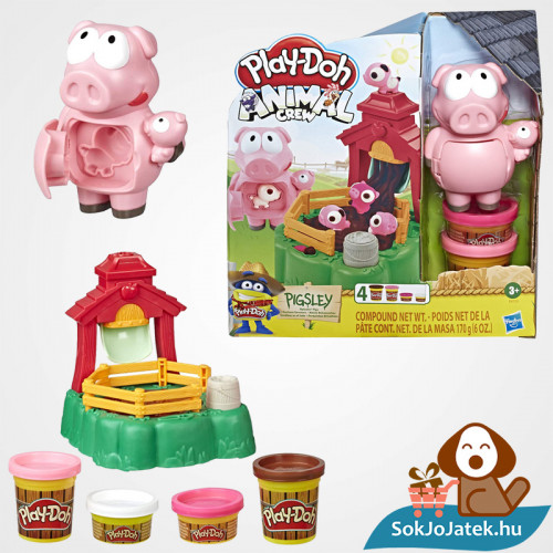Play-Doh Animal Crew: Malac család - színes malacos gyurma szett doboza és kellékei