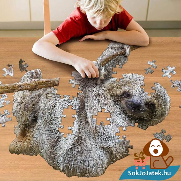 Wow poszter méretű forma puzzle - lajhár, 100 db, kirakózás közben