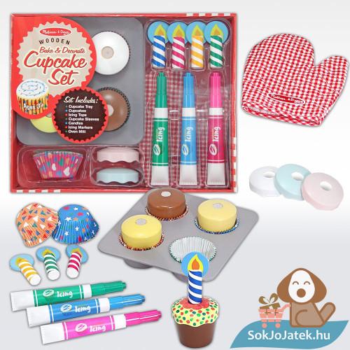Melissa & Doug Sütés-főzés, Cupcake játék szett doboza és tartalma