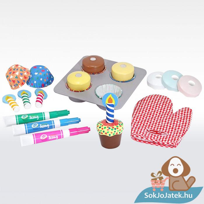 Melissa & Doug Sütés-főzés, Cupcake játék szett kellékei