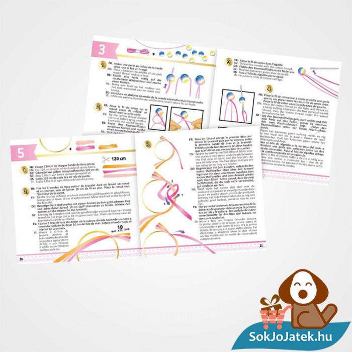 Neon karkötő készítő szett segítő kézikönyv kinyitva lányoknak - BUKI France