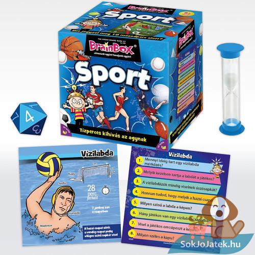 Brainbox: Sport memóriafejlesztő társasjáték doboza és tartozékai