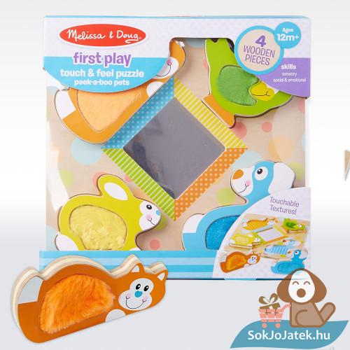 Melissa and Doug játékfejlesztő fajáték tapintós és kukucskáló állatok doboza